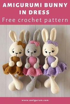 Knitting Dolls Free Patterns, Doll Amigurumi Free Pattern, Easter Crochet Patterns, Crochet Bunny Pattern, Crochet Rabbit, Crochet Bear, Free Crochet, Crochet Stitch, Amigurumi Toys