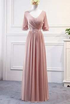 Pink Chiffon Bridesmaid Dresses Long Formal Gowns, Pink Party Dresses Pink Chiffon Brautjungfernkleider Long by PrettyLady bei Zibbet Bridesmaid Dresses 2018, Bridesmaid Dresses With Sleeves, Pink Party Dresses, Chiffon Dresses, Chiffon Dress Long, Long Dress Party, Party Gowns, Dresses Dresses, Wedding Dresses