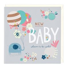 Elephant & Balloons New Baby Card