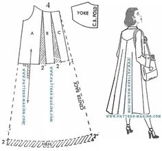 How to draft a coat pattern Makes a 'swing' on the back of the coat.