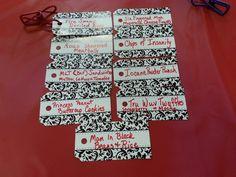 Menu cards for Princesses Bride anniversary party