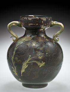 ** Emile Gallé, Nancy, (1846-1904), Mold Blown, Internal Inclusions, applied and Engraved Glass Vase.