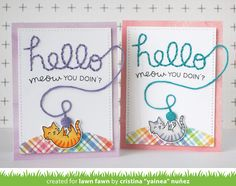 Lawn Fawn - Meow You Doin'?, Embroidered Hello _ stitched card by Yainea for Lawn Fawn