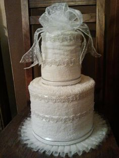 Wedding shower gift:  cake made out of towels
