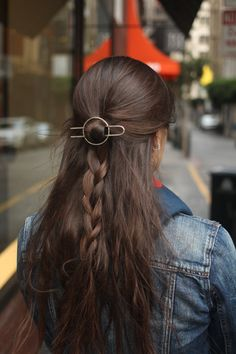 Circle hair slide hammered hair clip SILVER hair