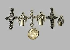Silver Cross Angels religious charms 6pcs  V4884 by JacsStash