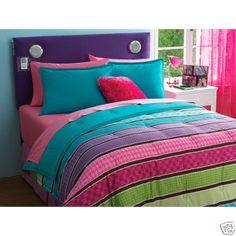 Like for Marianne's room..tween girls bedding | Reversible-PINK-GREEN-TEEN-TWIN-Comforter-Sham-Set-Girls-Bedding-NEW