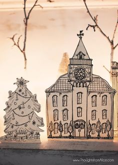 Thoughts from Alice: DIY Printable Christmas Village {Anthropologie Inspired} Diy Christmas Village, Christmas Town, Christmas Villages, Merry Little Christmas, Christmas Art, Christmas Projects, Christmas Lights, Christmas Holidays, Vintage Christmas
