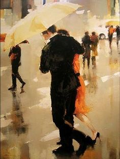 Rain. Yellow umbrella.  Lorraine Christie