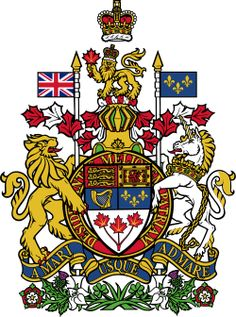 "The Royal Coat of Arms of Canada (originally adopted on November The motto, ""A Mari Usque ad Mare"", is Latin for ""From Sea to Sea"". Canadian Coat Of Arms, I Am Canadian, Canadian Girls, Canadian History, Canadian Symbols, Cool Countries, Countries Of The World, Kids Castle, Canada Eh"