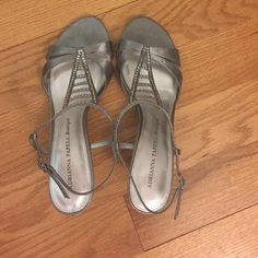 Adrianna Papell Boutique silver sandals Stone detail, worn only once, like new Adrianna Papell Shoes Heels