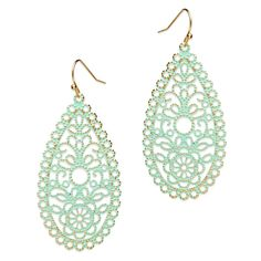 "VERONICA EARRINGS Love this! Found it on Remarkable Jewelry. The glamorous Veronica earrings provide a beautiful balance of classic charm and brilliance. Crafted with verdigris metal in an openwork design, you're bound to receive plenty of compliments as you show these off at the next get-together with the girls. - Goldtone metal, enamel - 2 3/4"" long"