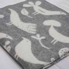 Bird wool blanket, grey,  inspired by traditional Swedish folk art.