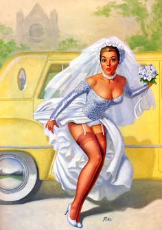 "This painting is known as ""The Bride Almost Wore White"". Pinup Art, 1950 Pinup, Pin Up Vintage, Fantasy Art Women, Fantasy Girl, Pin Up Illustration, Illustrations, Dibujos Pin Up, Pin Up Drawings"