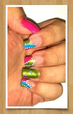Color nails green pink blue