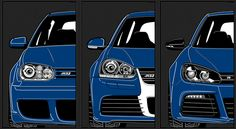 Very cool image of #Volkswagen #VW #Golf #R32 IV , Golf R32 V, and Golf #R  (from APR #goapr.com)