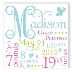 Personalized Canvas Birth Announcement - great gift idea!