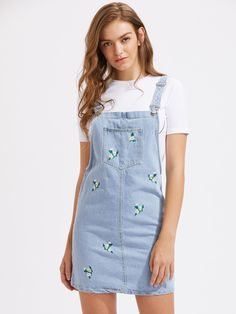 Floral Embroidered Denim Pinafore Dress