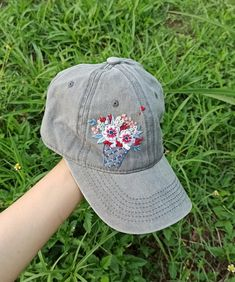 America Ice Cream Hat Hand Embroidered Floral Denim Cap Ice   Etsy Cream Hats, Denim Cap, Floral Denim, Happy Independence Day, Meaningful Gifts, Cotton Thread, Hand Embroidery, Flag, Ice Cream