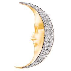 Masriera Diamond Gold Man in the Moon Brooch Pendant | 1stdibs.com