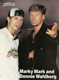 mark and donnie wahlberg- :) Brothers :) Mark Wahlberg Young, Donnie And Mark Wahlberg, Wahlberg Brothers, Jonathan Knight, Celebrity Siblings, Bae, All In The Family, Blue Bloods, New Kids