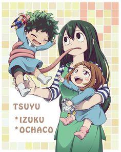 Boku no Hero Academia || Midoriya Izuku, Tsuyu Asui, Uraraka Ochako.