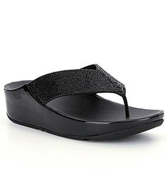 fa4ce7406d82c1 FitFlop Crystall Leather Gem Detailed Thong Style Slip On Sandals  Dillards  Merrell Shoes Women