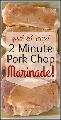 """2 Minute Pork Chop Marinade! Prep Time: 2 Minutes! On the weekend I decided that I would try """"online ordering"""" from M&M Meat Shops, and let me tell you, what an amazing shopping exp…"""