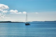 Sailing yacht anchored on Loch Indaal, Isle of Islay