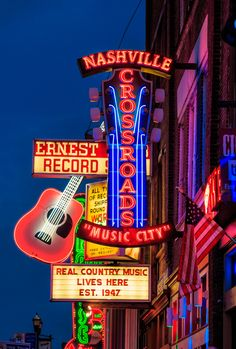 Our Guide to Nashville Charmingly laid-back Nashville ramps up with smart boutiques, stylish bistros, and a cosmopolitan attitude Neon signs advertise record shops and honky-tonks in Nashville, Tennessee, also known as Music City. Visit Nashville, Nashville Trip, Nashville Tennessee, Nashville Broadway, Nashville Bars, Visit Tennessee, Tennessee Usa, Tennessee Vacation, Vintage Neon Signs