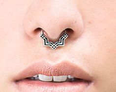 Septum Ring - Sterling Silver Nose Ring - Square Septum Ring - Septum Clicker