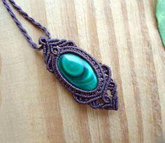 Malachite macrame pendant macrame jewelry micro by SelinofosArt
