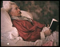 Autochrome of Mark Twain by Alvin Langdon Coburn, 1908.