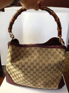 Gucci AUTHENTIC NWT Bamboo Handle Canvas & Leather Trim  Handbag #Gucci #ShoulderBag