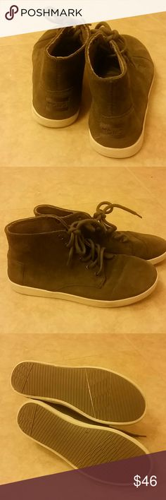 EUC Toms Paseo High Tarmac sneakers EUC dark olive suede lace up TOMS, these are the Paseo High Tarmac, size 9 TOMS Shoes Sneakers