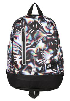 """Nike Performance. CHEYENNE  - Rucksack - white/black/matte silver. Pattern:Print. length:14.0 """" (Size One Size). Straps:padded shoulder straps. opening system:frontloader. compartments:front pocket. Outer material:polyester. Sport:Training. Fastening:Zip. back len..."""