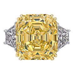 Rare Canary Intense Yellow Emerald Cut Diamond Gold Ring For Sale Diamond Rings For Sale, Yellow Diamond Rings, Emerald Cut Diamonds, Colored Diamonds, Diamond Jewelry, Diamond Cuts, Jewelry Rings, Yellow Diamonds, Kids Jewelry
