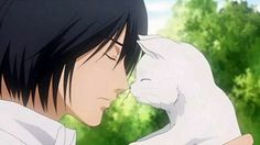 Morita and cat. This is very gentle face of Morita. Honey And Clover, Kawaii Anime, Cats, Gatos, Kitty Cats, Cat, Kitty, Serval Cats, Kittens
