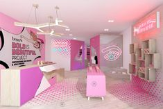 Prop studios retro concept pop-up store design for benefit. Retail Store Design, Retail Shop, Salon Design, Design Shop, Retail Interior, Home Interior, Interior Design Minimalist, Cosmetic Shop, Boutique Interior