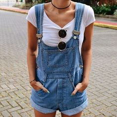 Short overalls outfit.