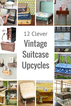 12 Amazing and unique ways to upcycle vintage suitcases.  From decoupage, to clever furniture and even a dolls house.