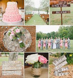 Spring Lake Wedding Venue   rustic, vintage wedding details   pink, ombre wedding cake, pink and grey details   Brita Photography