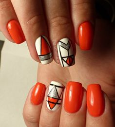 Neon Orange and Silver Geo Nail Art. Besides pastel colors, the neon shades are also very IN, when it comes to do the geometric nail arts.