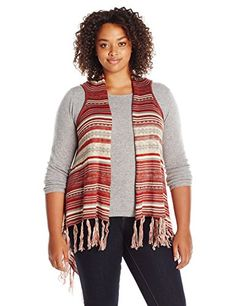 OneWorld Women's Plus Size Sleeveless Stripe Sweater Vest with Fringe - http://www.darrenblogs.com/2016/12/oneworld-womens-plus-size-sleeveless-stripe-sweater-vest-with-fringe/