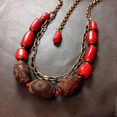 """Купить Колье """"Финики"""" с агатами и кораллом - комбинированный, красный и коричневый, украшения ручной работы"""