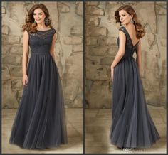 2016 Cheap Grey Bridesmaid Dresses For Wedding Long Chiffon A Line Backless Formal Dresses Party Lace Modest Maid Of Honor Dress Sexy Bridesmaid Dresses Tea Length Bridesmaid Dresses From Toprated, $70.06| Dhgate.Com