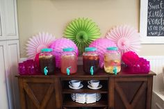Create a drink station to make it easy for guests to serve themselves // Amber Housley Living