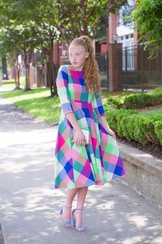 Modest Fashion | Modest Bridesmaid Dresses | Bright Plaid Countryside Carnival Dress by Dainty Jewell's