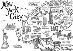 New York City Map Illustration Wall Decal by Claire Lordon, via Behance New York Drawing, City Drawing, Drawing Board, New York City Map, City Maps, Ny Map, Carte New York, New York Noel, Art History