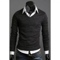 This V-Neck Long Sleeve Sweater For Men is such a great look